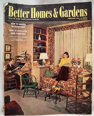 BETTER HOMES & GARDENS MAGAZINE FEB 1944 VINTAGE HOME DECORATING