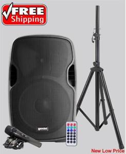 Gemini AS-12BLU-PK Bluetooth 12-inch powered Speaker Portable Active PA Loudspeaker with Wired Microphone and Stand