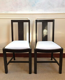 2 Original Art Deco Vintage 1920's Hardwood Black White Dining Kitchen Chairs