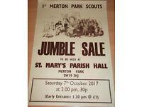 Mammoth Jumble Sale on Saturday 7th October @ 2pm St Marys Church Hall, Church Path SW19 3HJ