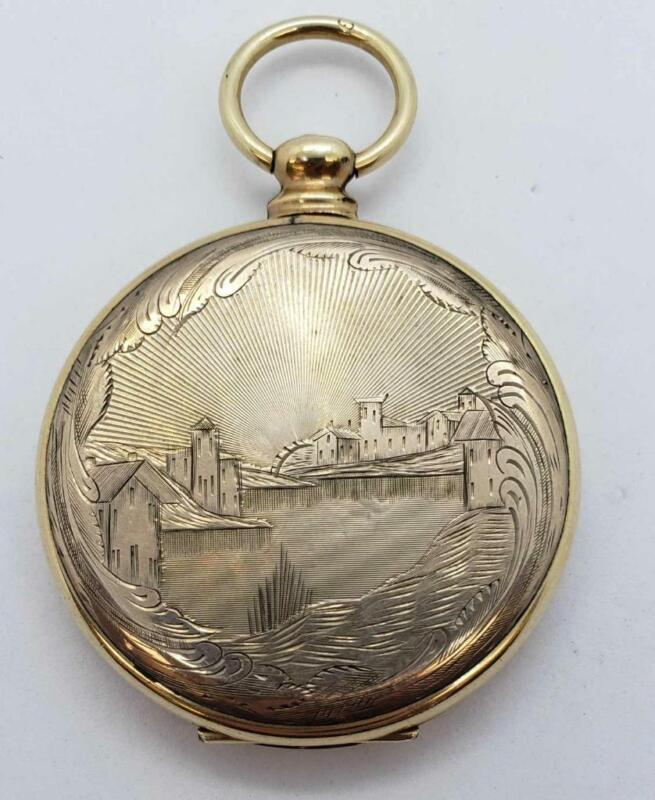Antique Victorian Gold Filled Engraved Mourning Photo Hair Locket with Hair