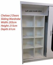 Brand New Chelsea 2 Door Mirror Sliding Wardrobe - Bedroom Furniture - WHTE|BLK|OAK|WALNUT