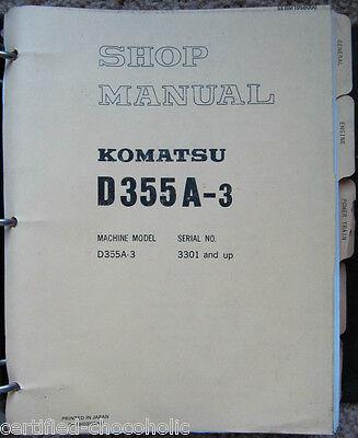 Komatsu D355a 3 Shop  Repair  Service  Manual   Bulldozer   Crawler   Bull Dozer