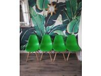 Excellent second hand Eames inspired Green Eiffel Style Retro Plastic Dining Office Lounge Chair x 4