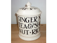 EMMA BRIDGEWATER - Black Toast All Over Writing Cookie/Biscuit Jar
