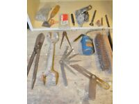 Lot of various tools - Tin Snips, Basin Wrench, Feeler Gauge, Set Square and more bits and bobs