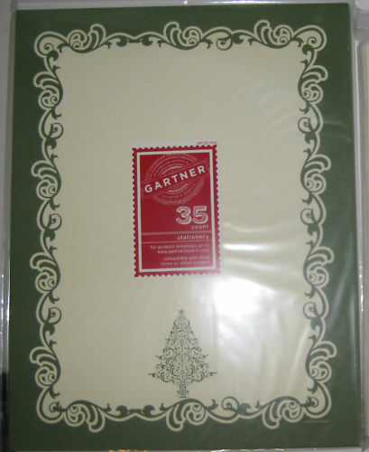 70  Christmas Stationery *Green Swirl Tree* Letterhead  79234