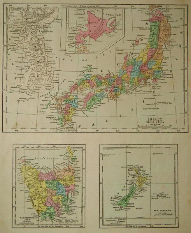 1856 Genuine Antique map Japan, New Zealand, Tasmania. C Morse