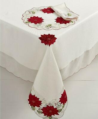 "Homewear Holly Tinsel Christmas Poinsettia Tablecloth Table Linens 120"" x 60"""