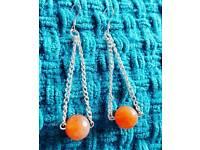 Carnelian Gemstone Silver Chain Drop Earrings