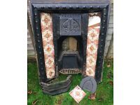 Victorian Cast Iron and Tile Fireplace and Wooden Surround