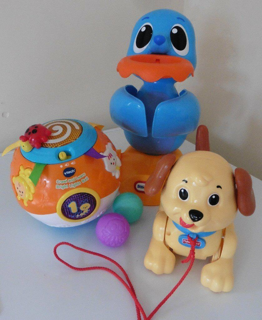 Fisher Price, VTech and Little Tikes baby toy bundle12 for all collection from Shepshedin Shepshed, LeicestershireGumtree - Fisher Price, VTech and Little Tikes baby toy bundle £12 for all collection from Shepshed. Little Tikes Lil Ocean Explorers Dunk and Juggle Seal, VTech crawl and learn ball and Fisher Price Lil Snoopy. All fully working, seal comes with 2 balls