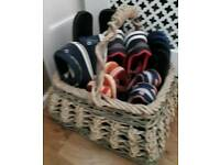 Wicker and rope handled basket for shoes or similar storage