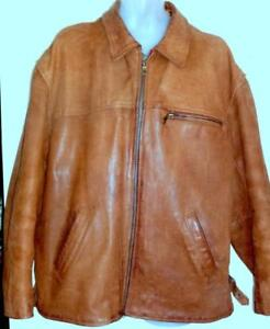 MENS XL 46 48 Leather Jacket Thick Heavy Vintage Retro Whiskey Brown Zip Coat Fall Winter Motorcycle Big