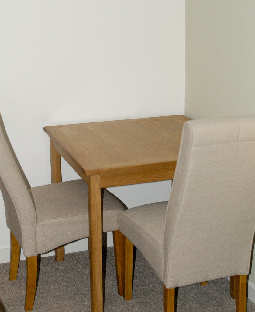 Light Oak Dining Table And Two Mink Cloth Chairs Immaculate Condition