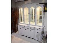 Large glazed display dresser painted Annie Sloan cool grey chalk paint - built-in lighting Carlisle