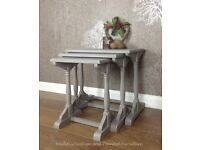 Vintage 'Solid Oak' nest of side tables, hand painted 'Shabby Chic, Annie Sloane