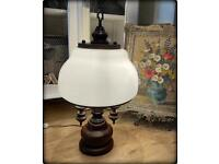 Large Heavy Vintage Brass & Oak Candelabra Table Lamp With White Opaque Glass Shade