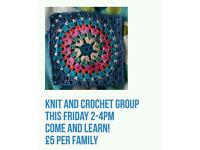 Knit and crochet drop-in £5