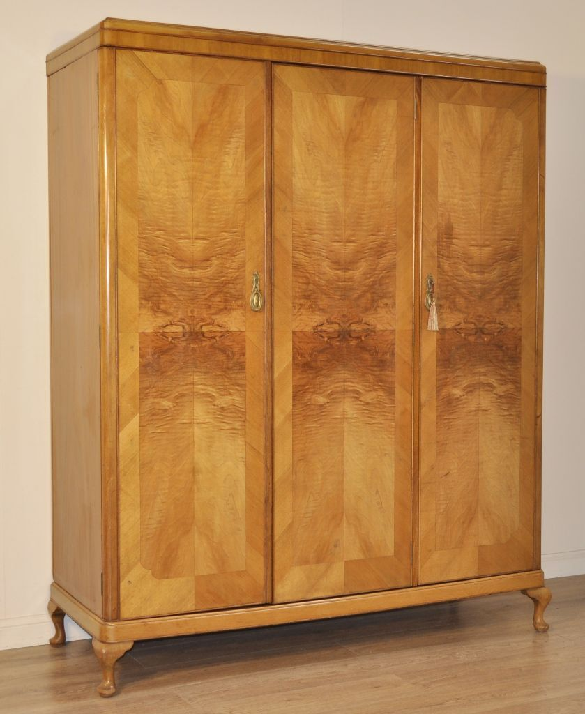 attractive large vintage art deco burr walnut triple fitted wardrobe armoire art deco figured walnut wardrobe vintage