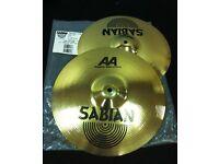 "aa sabian regular 13""hi hat cymbals,new"