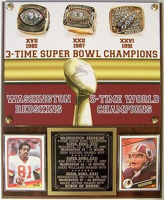 Washington Redskins 3 Time Super Bowl Champions Photo Card Plaque Rings Of Honor