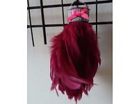 HANDMADE UNIQUE TURKEY FEATHER CHRISTMAS TREE DECORATIONS - HOT PINK