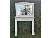 Vintage shabby chic over mantel mirror and fireplace surround