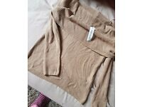 Womens beige off the shoulder jumper