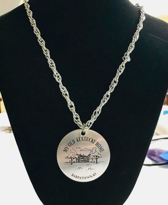 My Old Kentucky Home Bardstown, Ky. Tourist Aluminum Pendant Necklace Souvenir