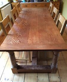 Yellow wood refectory table, 2 benches, very good condition, and 6 oak chairs as new
