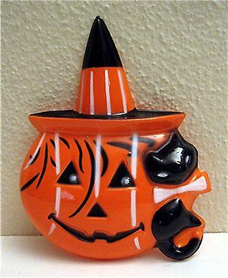 Halloween Pumpkin Black Cat Cake Topper Old Store Stock