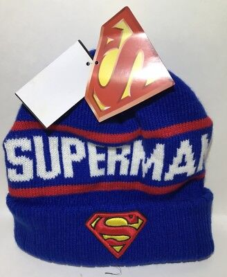DC COMICS SUPERMAN KNIT BEANIE - YOUTH AGE 14 & ABOVE - MSRP $25](Superman Beanie)