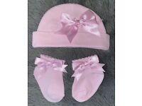 Beautiful Pink Hat & Socks Set