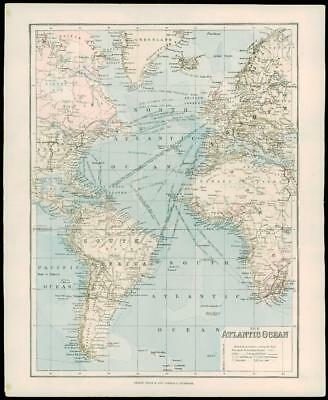 1900 Antique Colour Map of ATLANTIC OCEAN America Africa Europe Falkland (01)