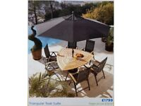 Triangular Teak Suite Outdoor Table and Chairs with Umbrella