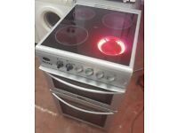 Belling ELECTRIC COOKER, silver with ceramic top, 50 cm width