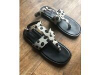 Topshop leather sandals dots black white size 6 39