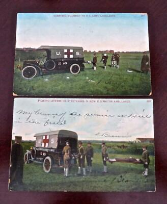1907 Pre WWI Era Postcards 2 Military Early Red Cross Trucks Soldiers Practicing