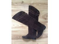 Brown faux suede over knee boots size UK 4 EUR 37