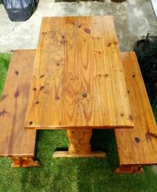 Pine Kitchen Table with Benches (ideal shabby chic project)