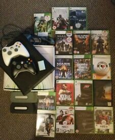 Xbox 360, 17 games, 2 controllers, 2 hard drives, cables