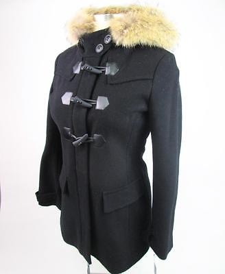 MARC NEW YORK ANDREW MARC BLACK FUR HOODIE WOOL TOGGLE DUFFLE COAT 6 NWT $595 Marc New York Toggle Coat