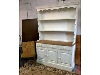 Large Farmhouse Solid Pine Welsh Dresser Vintage White*FREE DELIVERY*Shabby Chic (not Sideboard oak)