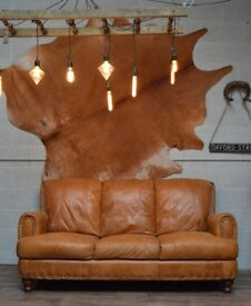 Leather Vintage 3 Seater Sofa Studs Tan