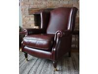 Laura Ashley Southwold leather armchair wingback chair