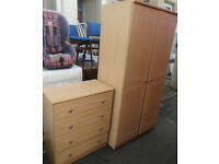 GOOD STURDY CONDITION, A NICE LIGHT WOOD EFFECT DOUBLE WARDROBE WITH 4 DRAW CHEST