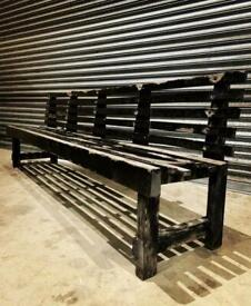 Vintage teak ships bench