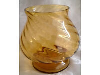 vintage amber twist glass vase