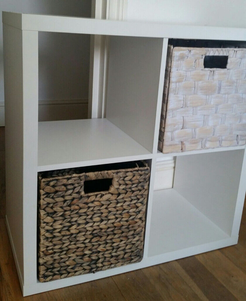 half off 137a9 45ca8 Homebase White 4 Cube Modular Square Shelving Unit & Storage Box | in  London | Gumtree
